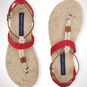 RALPH LAUREN NEW Cataleena Jute Thong Sandal 6.5